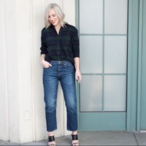 Madewell plaid flannel cropped blouse!